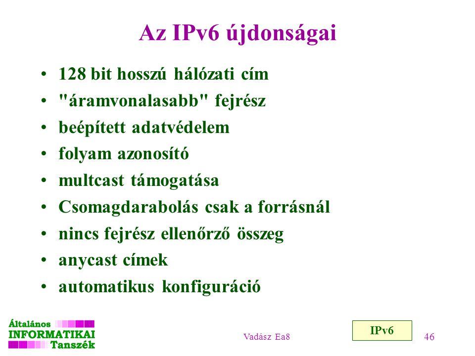 Vadász Ea8 46 Az IPv6 újdonságai 128 bit hosszú hálózati cím
