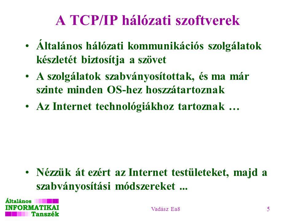 Vadász Ea8 5 A TCP/IP hálózati szoftverek Általános hálózati kommunikációs szolgálatok készletét biztosítja a szövet A szolgálatok szabványosítottak,