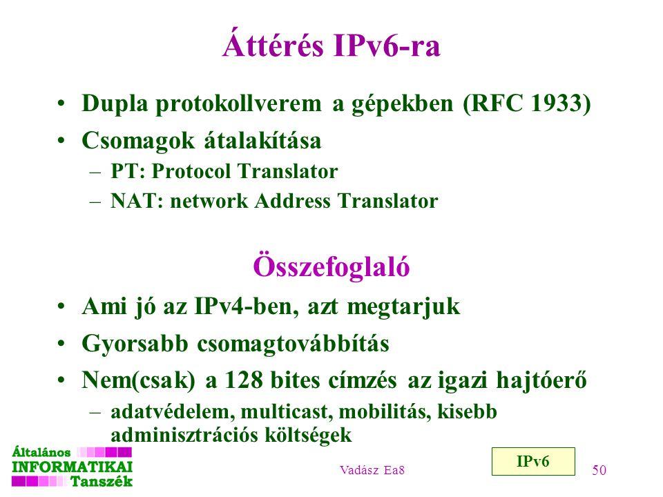 Vadász Ea8 50 Áttérés IPv6-ra Dupla protokollverem a gépekben (RFC 1933) Csomagok átalakítása –PT: Protocol Translator –NAT: network Address Translato