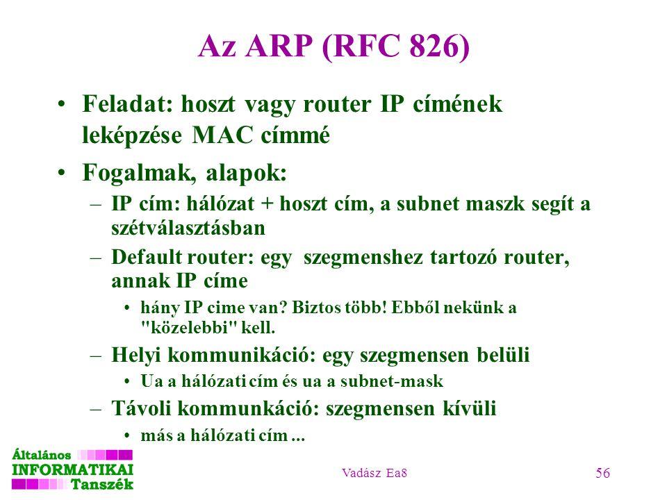 Vadász Ea8 56 Az ARP (RFC 826) Feladat: hoszt vagy router IP címének leképzése MAC címmé Fogalmak, alapok: –IP cím: hálózat + hoszt cím, a subnet masz
