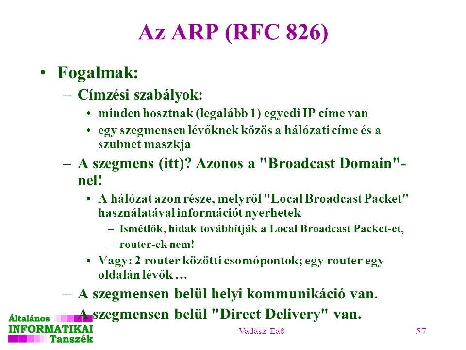 Vadász Ea8 57 Az ARP (RFC 826) Fogalmak: –Címzési szabályok: minden hosztnak (legalább 1) egyedi IP címe van egy szegmensen lévőknek közös a hálózati