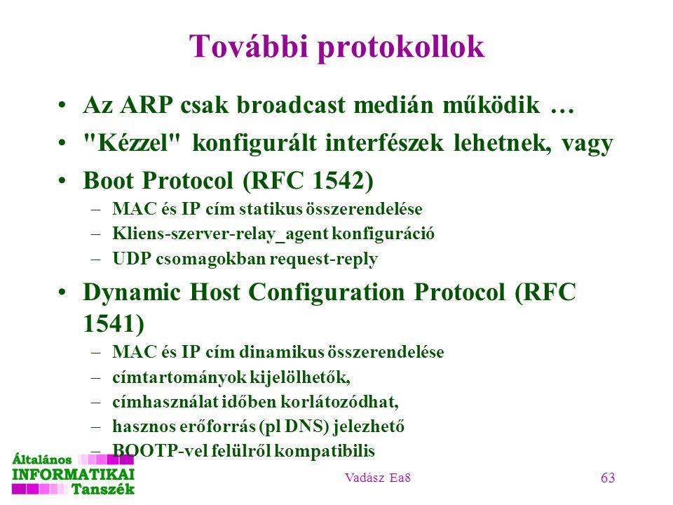 Vadász Ea8 63 További protokollok Az ARP csak broadcast medián működik …