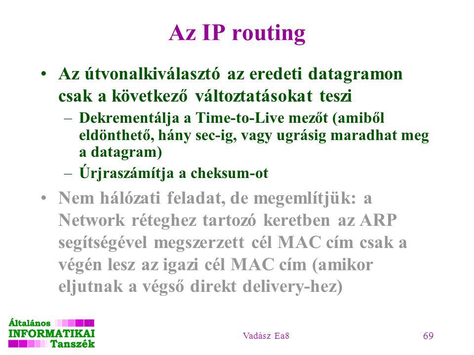 Vadász Ea8 69 Az IP routing Az útvonalkiválasztó az eredeti datagramon csak a következő változtatásokat teszi –Dekrementálja a Time-to-Live mezőt (ami