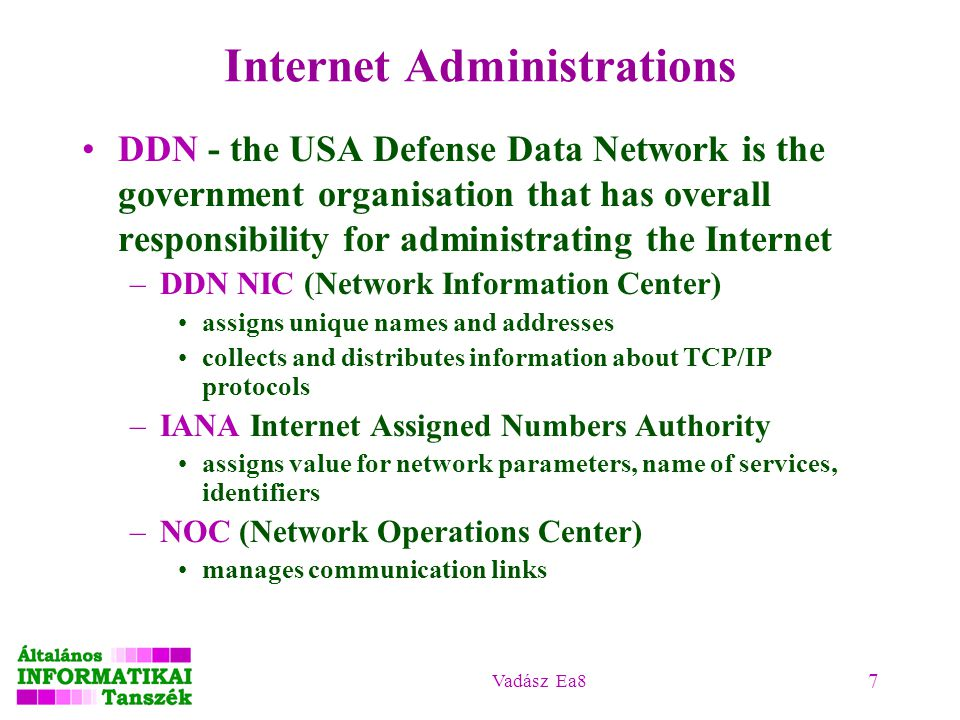 Vadász Ea8 7 Internet Administrations DDN - the USA Defense Data Network is the government organisation that has overall responsibility for administrating the Internet –DDN NIC (Network Information Center) assigns unique names and addresses collects and distributes information about TCP/IP protocols –IANA Internet Assigned Numbers Authority assigns value for network parameters, name of services, identifiers –NOC (Network Operations Center) manages communication links