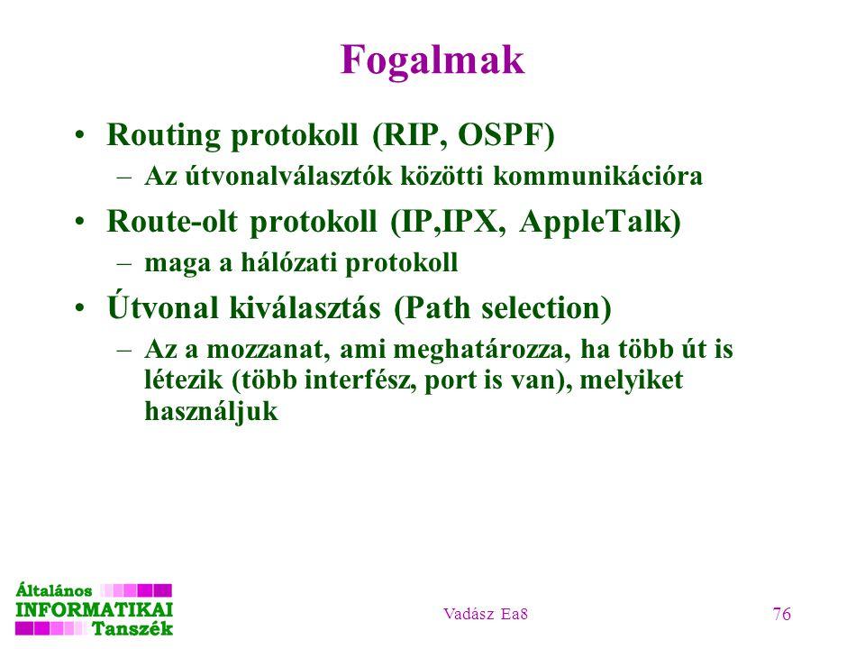 Vadász Ea8 76 Fogalmak Routing protokoll (RIP, OSPF) –Az útvonalválasztók közötti kommunikációra Route-olt protokoll (IP,IPX, AppleTalk) –maga a hálóz