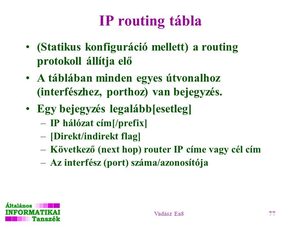 Vadász Ea8 77 IP routing tábla (Statikus konfiguráció mellett) a routing protokoll állítja elő A táblában minden egyes útvonalhoz (interfészhez, porth