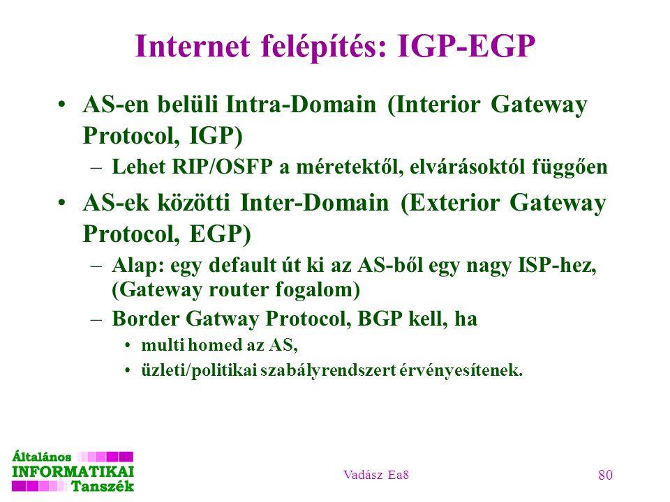 Vadász Ea8 80 Internet felépítés: IGP-EGP AS-en belüli Intra-Domain (Interior Gateway Protocol, IGP) –Lehet RIP/OSFP a méretektől, elvárásoktól függőe
