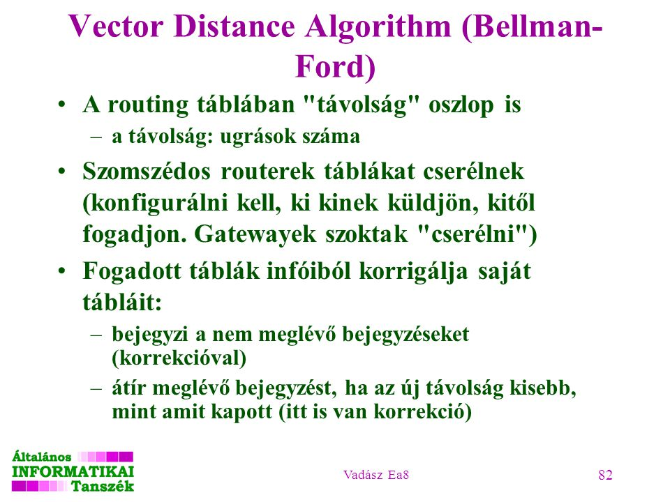 Vadász Ea8 82 Vector Distance Algorithm (Bellman- Ford) A routing táblában