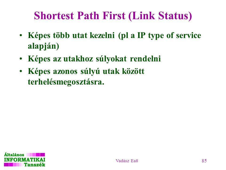 Vadász Ea8 85 Shortest Path First (Link Status) Képes több utat kezelni (pl a IP type of service alapján) Képes az utakhoz súlyokat rendelni Képes azo