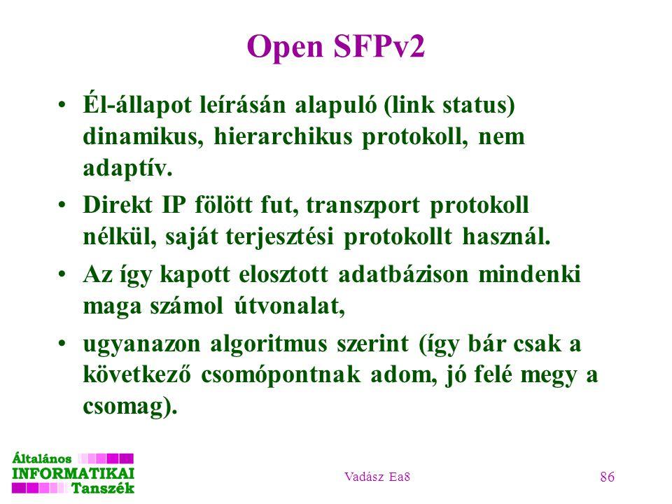 Vadász Ea8 86 Open SFPv2 Él-állapot leírásán alapuló (link status) dinamikus, hierarchikus protokoll, nem adaptív. Direkt IP fölött fut, transzport pr