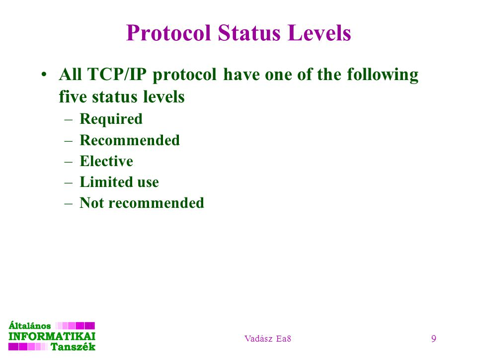 Vadász Ea8 9 Protocol Status Levels All TCP/IP protocol have one of the following five status levels –Required –Recommended –Elective –Limited use –Not recommended