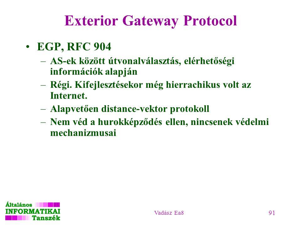 Vadász Ea8 91 Exterior Gateway Protocol EGP, RFC 904 –AS-ek között útvonalválasztás, elérhetőségi információk alapján –Régi. Kifejlesztésekor még hier