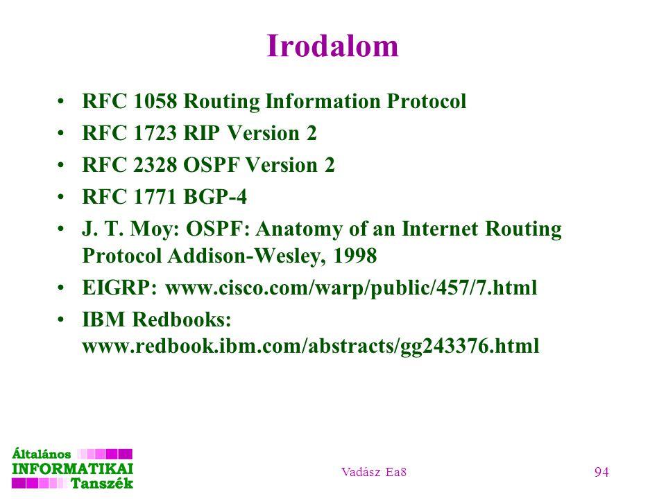Vadász Ea8 94 Irodalom RFC 1058 Routing Information Protocol RFC 1723 RIP Version 2 RFC 2328 OSPF Version 2 RFC 1771 BGP-4 J. T. Moy: OSPF: Anatomy of