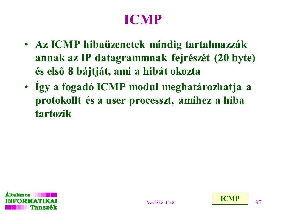 Vadász Ea8 97 ICMP Az ICMP hibaüzenetek mindig tartalmazzák annak az IP datagrammnak fejrészét (20 byte) és első 8 bájtját, ami a hibát okozta Így a f