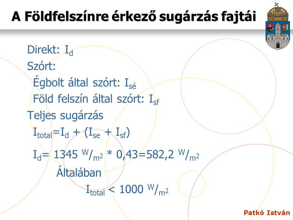 Patkó István Magyarország napsugárzásból származó potenciálja (csak a direkt sugárzás) Ország területe:93.000 km 2 = 93 * 10 9 m 2 E napsugárzás =93 * 10 9 m 2 * 582,2 W / m 2 h E napsugárzás = 5,4 * 10 13 Wh = 54 * TWh