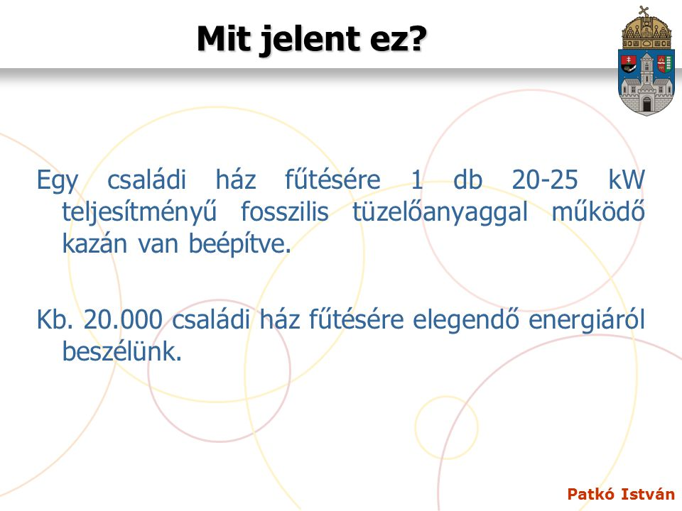 Patkó István Mit jelent ez? Egy családi ház fűtésére 1 db 20-25 kW teljesítményű fosszilis tüzelőanyaggal működő kazán van beépítve. Kb. 20.000 család