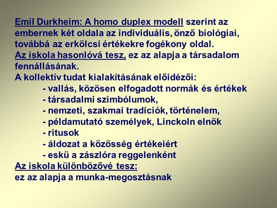Emil Durkheim: A homo duplex modell szerint az embernek két oldala az individuális, önző biológiai, továbbá az erkölcsi értékekre fogékony oldal. Az i