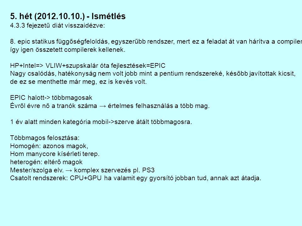 5. hét (2012.10.10.) - Ismétlés 4.3.3 fejezetű diát visszaidézve: 8.