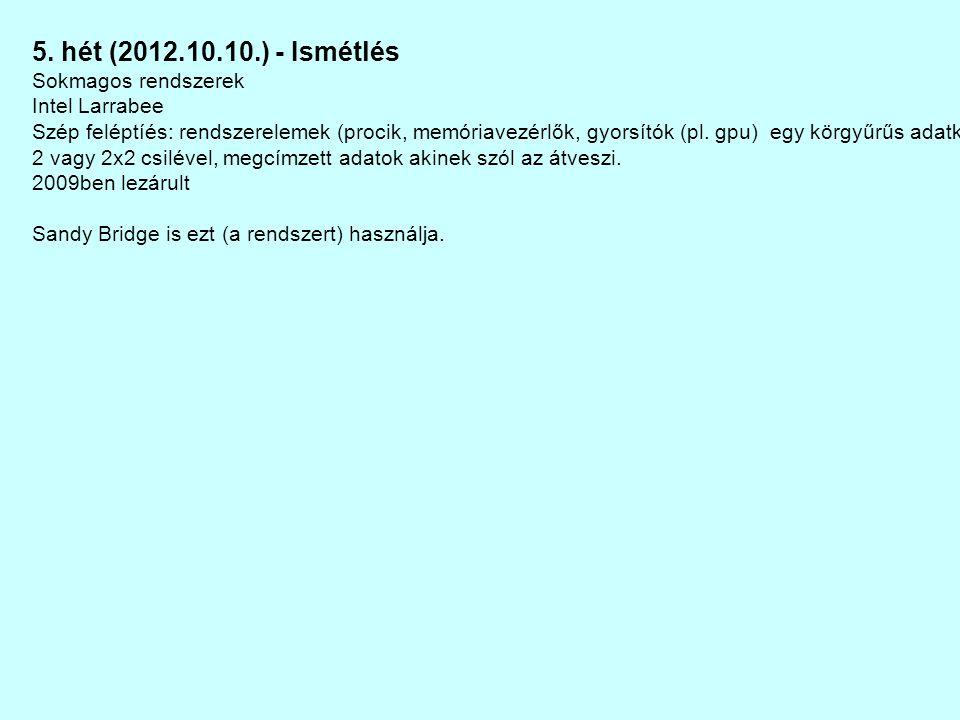 5. hét (2012.10.10.) - Ismétlés Sokmagos rendszerek Intel Larrabee Szép feléptíés: rendszerelemek (procik, memóriavezérlők, gyorsítók (pl. gpu) egy kö