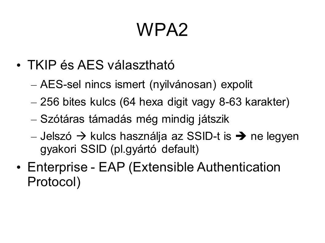 WPA2 TKIP és AES választható – AES-sel nincs ismert (nyilvánosan) expolit – 256 bites kulcs (64 hexa digit vagy 8-63 karakter) – Szótáras támadás még mindig játszik – Jelszó  kulcs használja az SSID-t is  ne legyen gyakori SSID (pl.gyártó default) Enterprise - EAP (Extensible Authentication Protocol)
