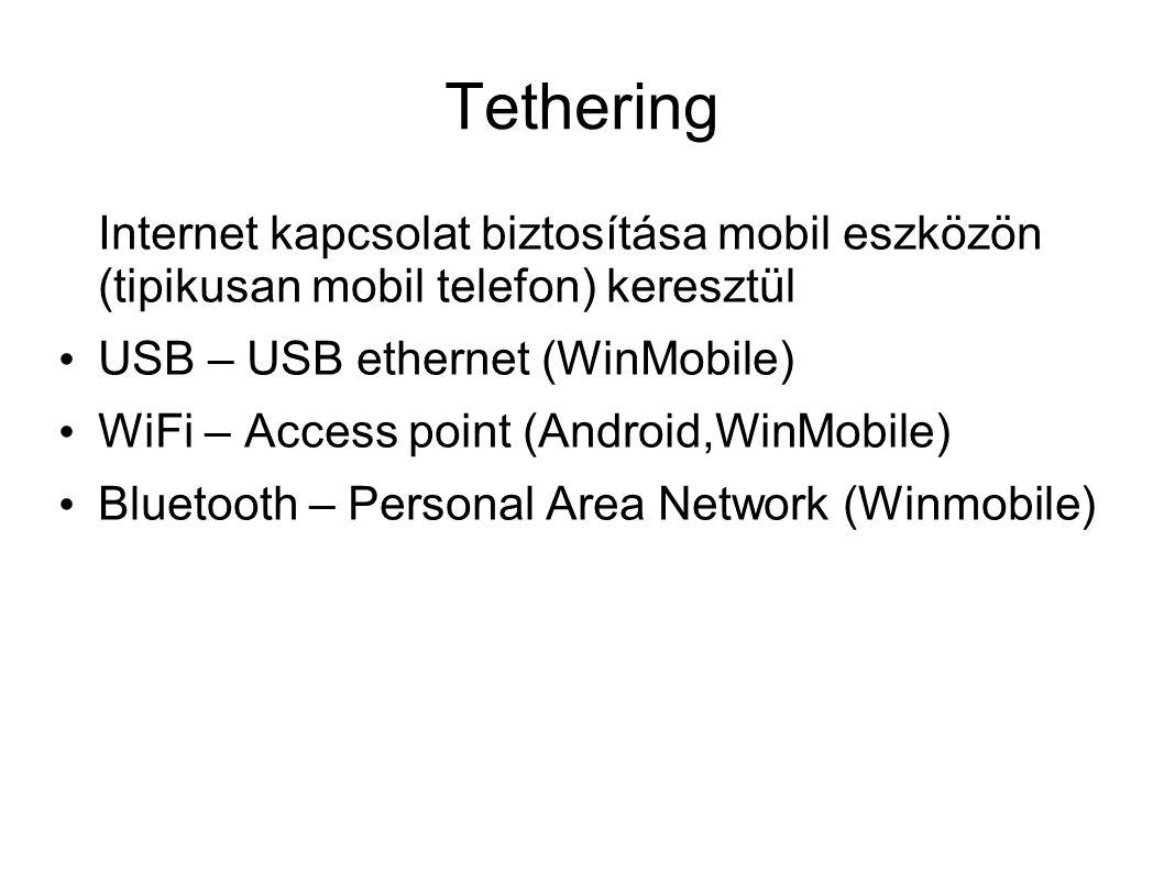 Tethering Internet kapcsolat biztosítása mobil eszközön (tipikusan mobil telefon) keresztül USB – USB ethernet (WinMobile) WiFi – Access point (Android,WinMobile) Bluetooth – Personal Area Network (Winmobile)