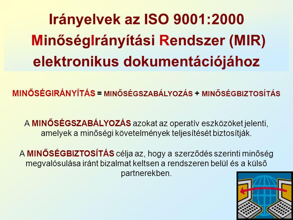 Irányelvek az ISO 9001:2000 MinőségIrányítási Rendszer (MIR) elektronikus dokumentációjához A MINŐSÉGSZABÁLYOZÁS azokat az operatív eszközöket jelenti