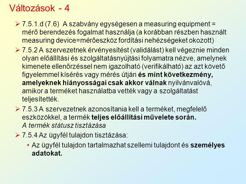  7.5.1.d (7.6) A szabvány egységesen a measuring equipment = mérő berendezés fogalmat használja (a korábban részben használt measuring device=mérőesz