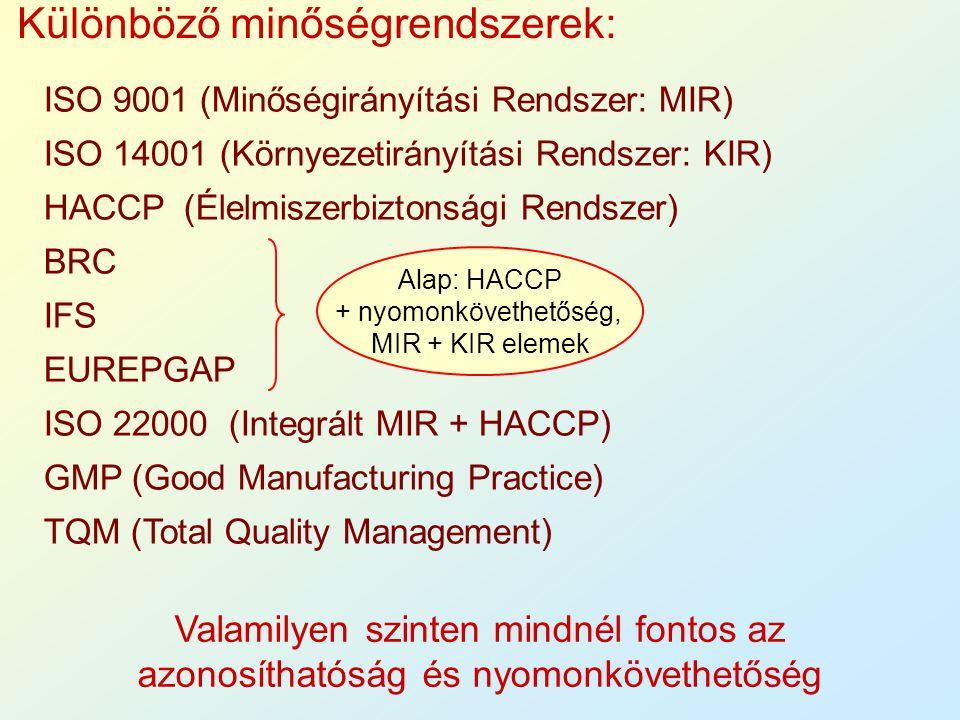 Valamilyen szinten mindnél fontos az azonosíthatóság és nyomonkövethetőség Különböző minőségrendszerek: ISO 9001 (Minőségirányítási Rendszer: MIR) ISO