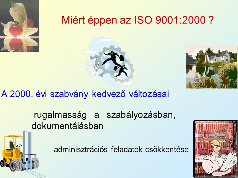 3 A 2000. évi szabvány kedvező változásai rugalmasság a szabályozásban, dokumentálásban adminisztrációs feladatok csökkentése Miért éppen az ISO 9001: