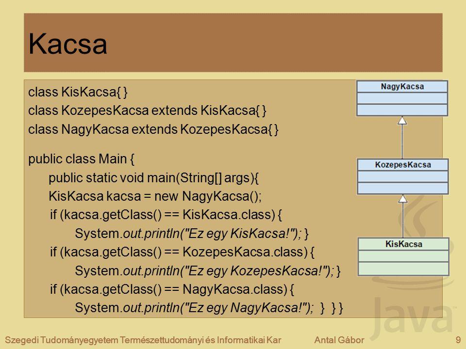 Szegedi Tudományegyetem Természettudományi és Informatikai KarAntal Gábor9Szegedi Tudományegyetem Természettudományi és Informatikai KarAntal Gábor Kacsa class KisKacsa{ } class KozepesKacsa extends KisKacsa{ } class NagyKacsa extends KozepesKacsa{ } public class Main { public static void main(String[] args){ KisKacsa kacsa = new NagyKacsa(); if (kacsa.getClass() == KisKacsa.class) { System.out.println( Ez egy KisKacsa! ); } if (kacsa.getClass() == KozepesKacsa.class) { System.out.println( Ez egy KozepesKacsa! ); } if (kacsa.getClass() == NagyKacsa.class) { System.out.println( Ez egy NagyKacsa! ); } } } Szegedi Tudományegyetem Természettudományi és Informatikai KarAntal Gábor9