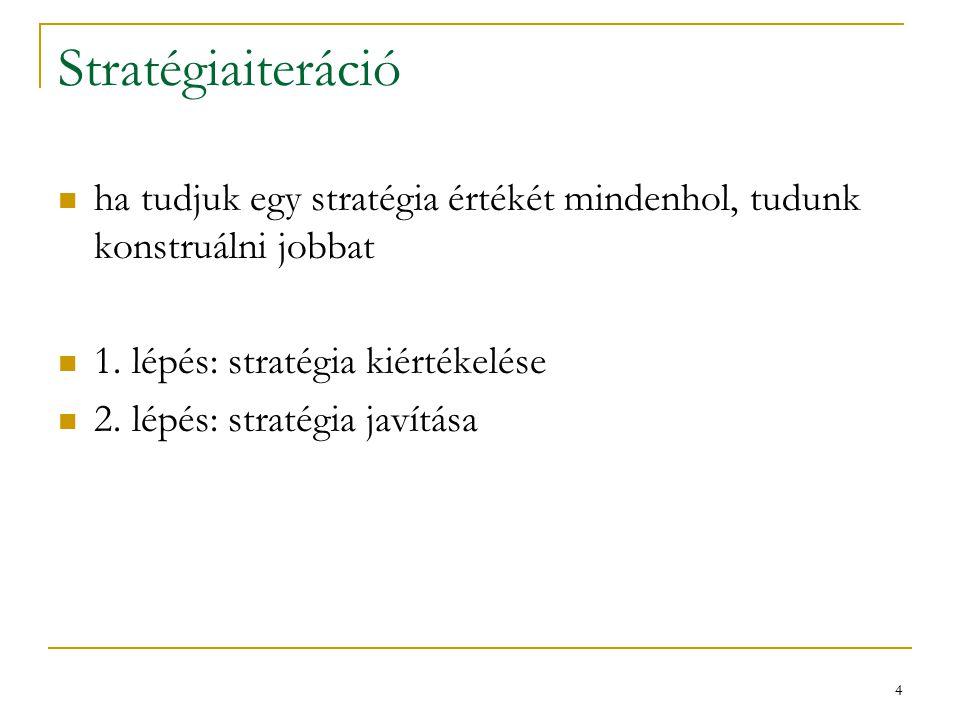 15 Stratégiajavítás , V  adott ha van olyan  ' (determinisztikus), hogy minden s - re akkor vagyis, ha 1 lépésre előre javítunk, akkor az egészen is!