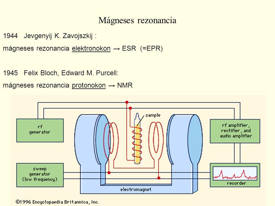 Mágneses rezonancia 1944 Jevgenyij K. Zavojszkij : mágneses rezonancia elektronokon → ESR (=EPR) 1945 Felix Bloch, Edward M. Purcell: mágneses rezonan