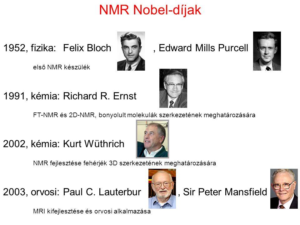 NMR Nobel-díjak 1952, fizika:Felix Bloch, Edward Mills Purcell első NMR készülék 1991, kémia:Richard R. Ernst FT-NMR és 2D-NMR, bonyolult molekulák sz