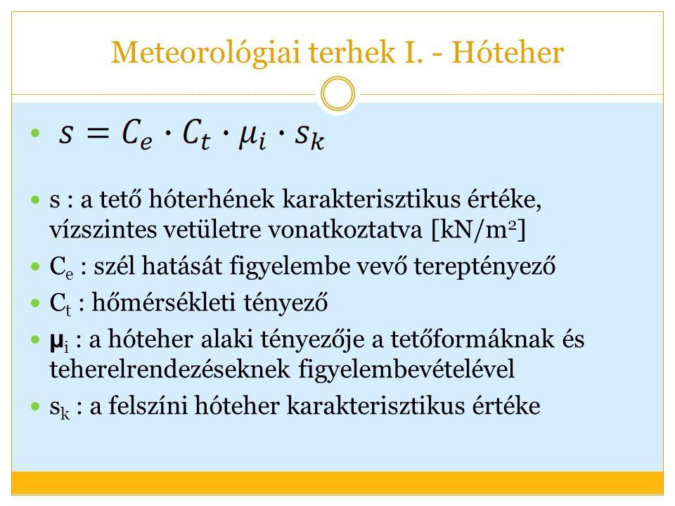 Meteorológiai terhek I. - Hóteher s : a tető hóterhének karakterisztikus értéke, vízszintes vetületre vonatkoztatva [kN/m 2 ] C e : szél hatását figye