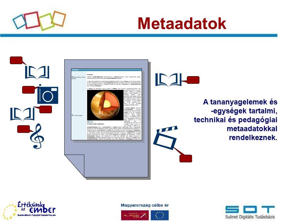 Metaadatok A tananyagelemek és -egységek tartalmi, technikai és pedagógiai metaadatokkal rendelkeznek.