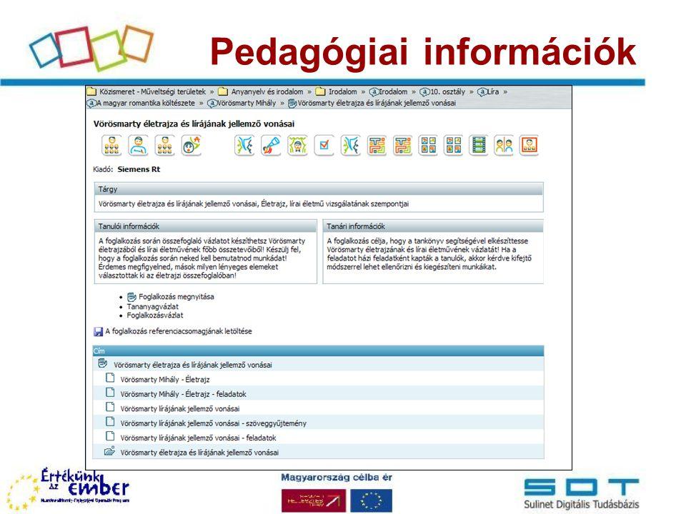 Pedagógiai információk