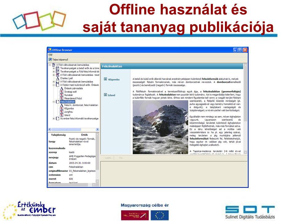 Offline használat és saját tananyag publikációja