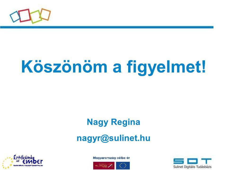 Köszönöm a figyelmet! Nagy Regina nagyr@sulinet.hu