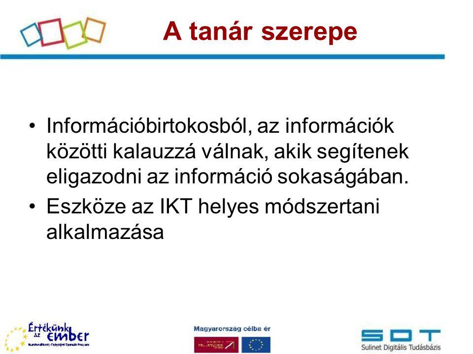 Információbirtokosból, az információk közötti kalauzzá válnak, akik segítenek eligazodni az információ sokaságában. Eszköze az IKT helyes módszertani