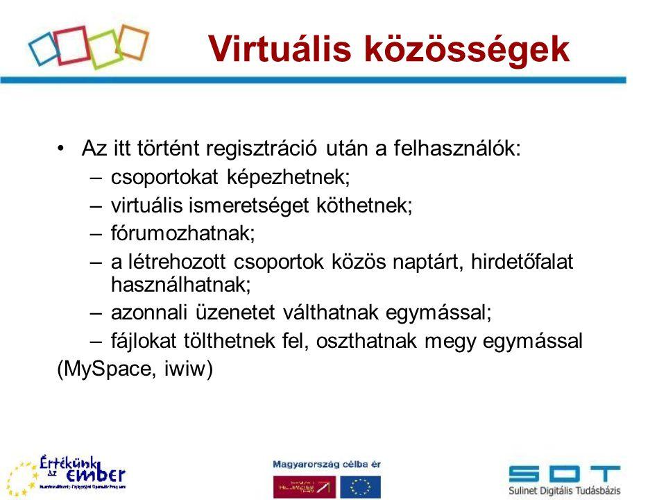 Az itt történt regisztráció után a felhasználók: –csoportokat képezhetnek; –virtuális ismeretséget köthetnek; –fórumozhatnak; –a létrehozott csoportok közös naptárt, hirdetőfalat használhatnak; –azonnali üzenetet válthatnak egymással; –fájlokat tölthetnek fel, oszthatnak megy egymással (MySpace, iwiw) Virtuális közösségek
