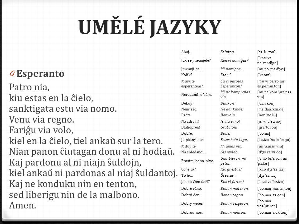 UMĚLÉ JAZYKY 0 Esperanto Patro nia, kiu estas en la ĉielo, sanktigata estu via nomo. Venu via regno. Fariĝu via volo, kiel en la ĉielo, tiel ankaŭ sur