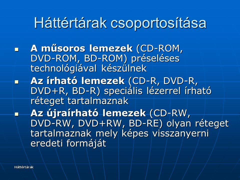 Háttértárak Háttértárak csoportosítása CD/DVD-n tárolható adatmennyiség CD/DVD-n tárolható adatmennyiség DVD Egy oldalról olvasható Két oldalról olvasható Egy rétegű Két rétegű Egy rétegű Két rétegű 120 mm 4,7 GB DVD 5 8,4 GB DVD 9 9,4 GB DVD 10 17 GB DVD 17 80 mm 1,4 GB 2,6 GB 2,8 GB 5,2 GB CD 120 mm 640/700 MB 72/80 perc 80 mm 210 MB 22 perc