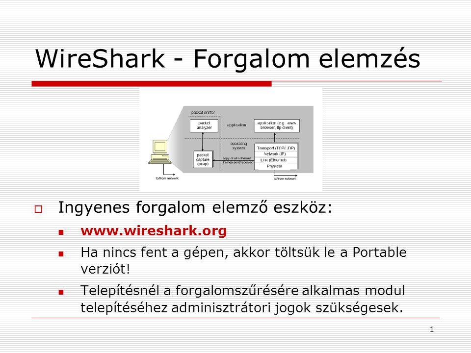 WireShark - Forgalom elemzés  Ingyenes forgalom elemző eszköz: www.wireshark.org Ha nincs fent a gépen, akkor töltsük le a Portable verziót.