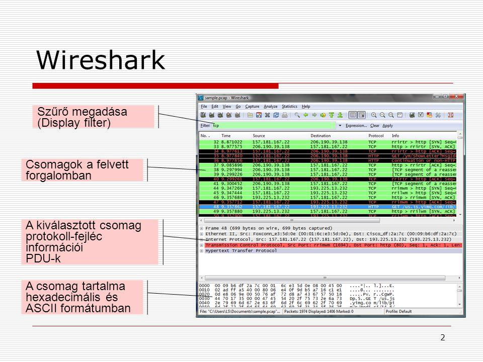 Wireshark 2 Szűrő megadása (Display filter) Csomagok a felvett forgalomban A kiválasztott csomag protokoll-fejléc információi PDU-k A csomag tartalma