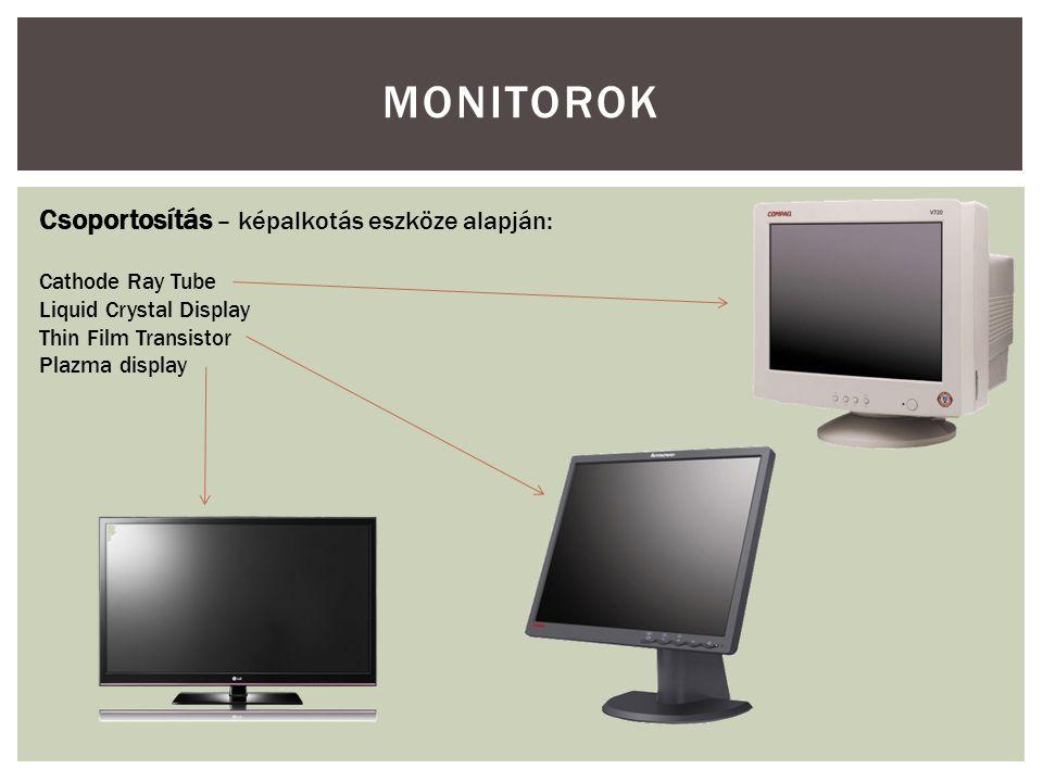  Méret  Felbontás  Frekvenciák  Csatlakozás  Vezérlés  Háttérsugárzás MONITOROK – ÁLTALÁNOS JELLEMZŐK