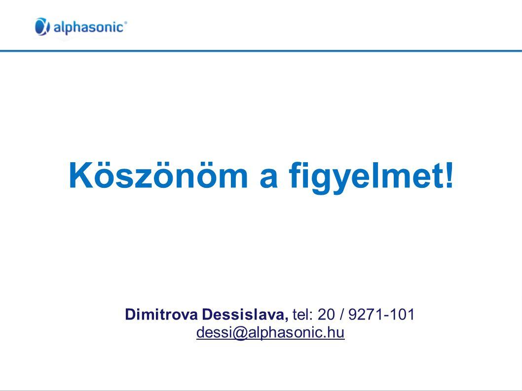 Köszönöm a figyelmet! Dimitrova Dessislava, tel: 20 / 9271-101 dessi@alphasonic.hu
