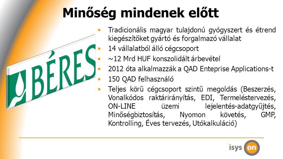 Minőség mindenek előtt Tradicionális magyar tulajdonú gyógyszert és étrend kiegészítőket gyártó és forgalmazó vállalat 14 vállalatból álló cégcsoport ~12 Mrd HUF konszolidált árbevétel 2012 óta alkalmazzák a QAD Enteprise Applications-t 150 QAD felhasználó Teljes körű cégcsoport szintű megoldás (Beszerzés, Vonalkódos raktárirányítás, EDI, Termeléstervezés, ON-LINE üzemi lejelentés-adatgyűjtés, Minőségbiztosítás, Nyomon követés, GMP, Kontrolling, Éves tervezés, Utókalkuláció)