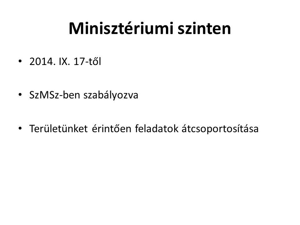Minisztériumi szinten 2014. IX. 17-től SzMSz-ben szabályozva Területünket érintően feladatok átcsoportosítása