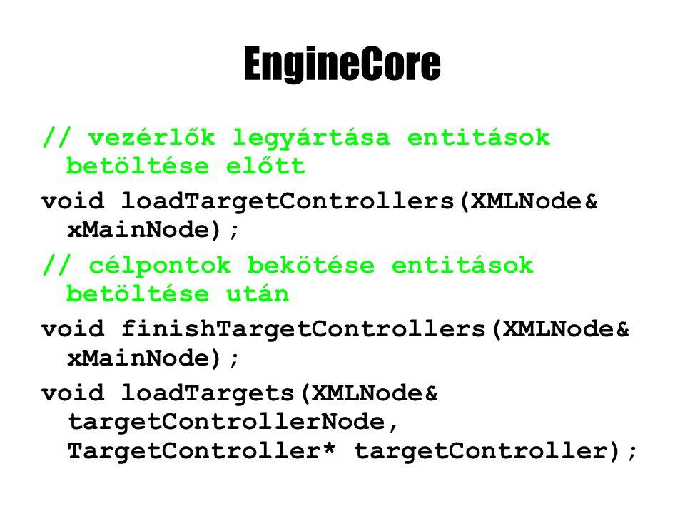 EngineCore // vezérlők legyártása entitások betöltése előtt void loadTargetControllers(XMLNode& xMainNode); // célpontok bekötése entitások betöltése