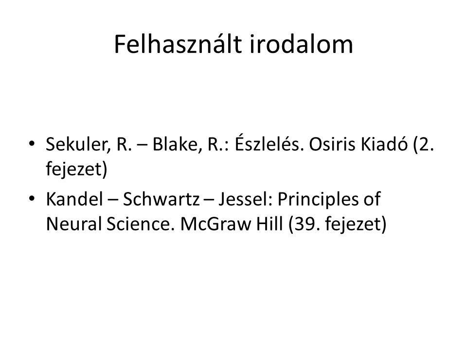 Felhasznált irodalom Sekuler, R. – Blake, R.: Észlelés. Osiris Kiadó (2. fejezet) Kandel – Schwartz – Jessel: Principles of Neural Science. McGraw Hil